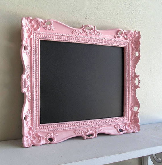 Wedding Sign Pink CHALKBOARD w/ Easel Birthday Party Decoration Nursery Baby Shower Sign Piggy Bank Photo Prop Magnetic Ornate Picture Frame Baby Gift- MORE COLORS