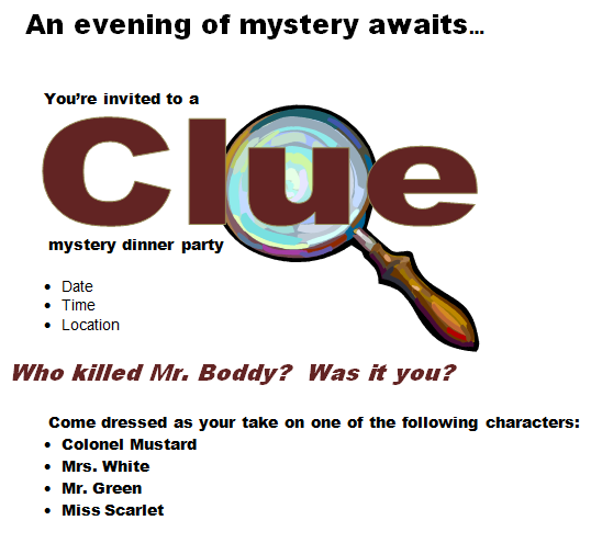 maisonraye CLUE Party – Clue Party Invitations