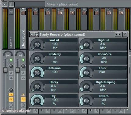 fungsi fruity Reeverb di mixer Fl studio