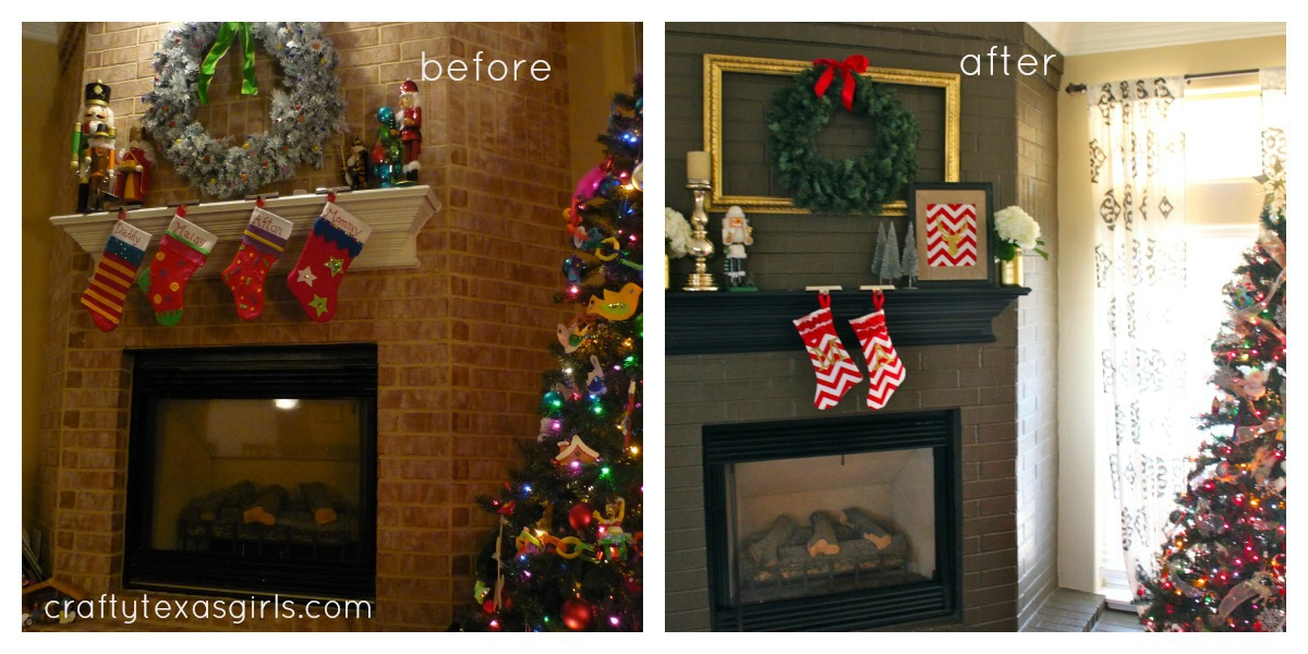 Fireplace Design painting a brick fireplace : Crafty Texas Girls: Painted Brick Fireplace