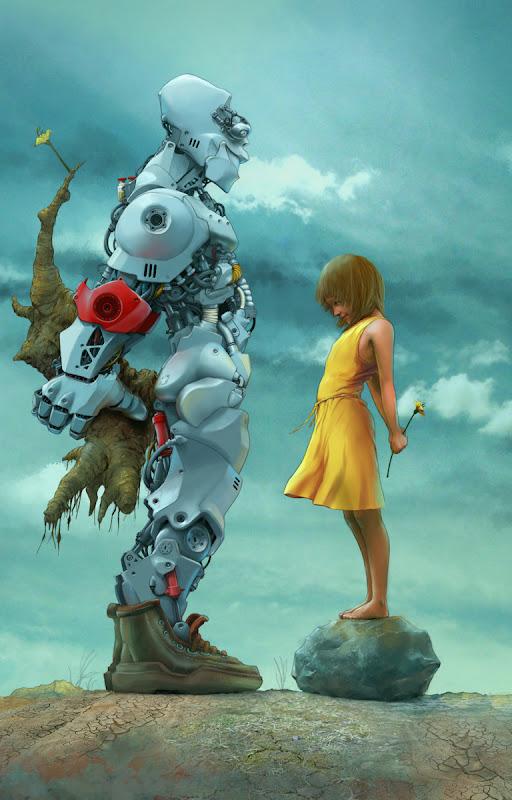 Robot-dreng og pige bytter blomster