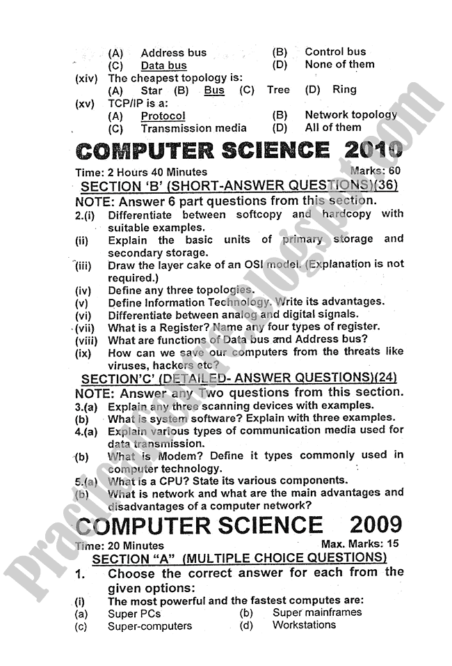 Computer-science-2009-five-year-paper-class-XI