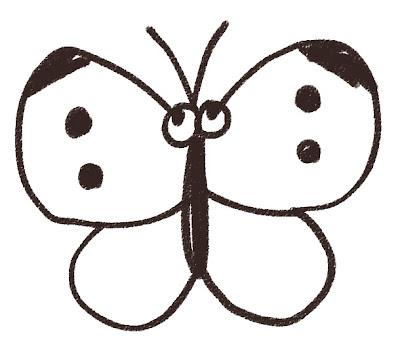 モンシロチョウのイラスト(虫) モノクロ線画