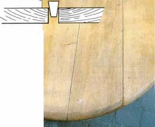Щели и трещины на деревянном столе