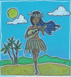 ukulele princess illustration