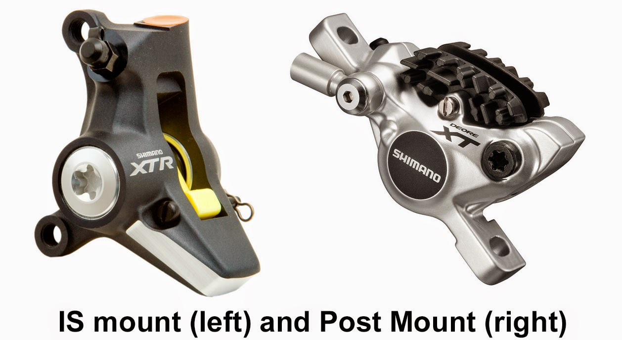 IS mount and Post Mount mountain bike brake attachments
