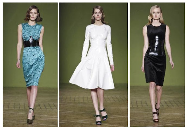Dresses by Jonathan Saunders at London Fashion Week, with PVC detail