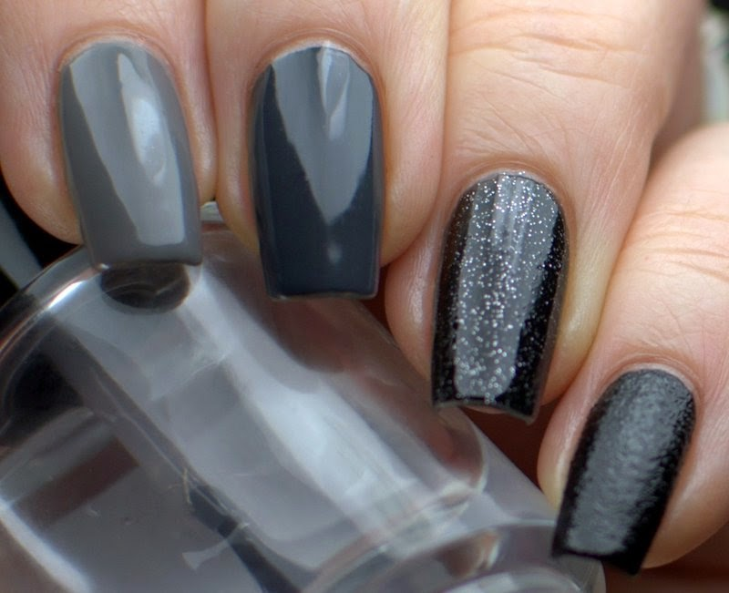 Grey to Black Ombre with Nubar Citadel, China Glaze Recycle, China Glaze Concrete Catwalk, China Glaze Haunting and Nails Inc Leather Effect Noho