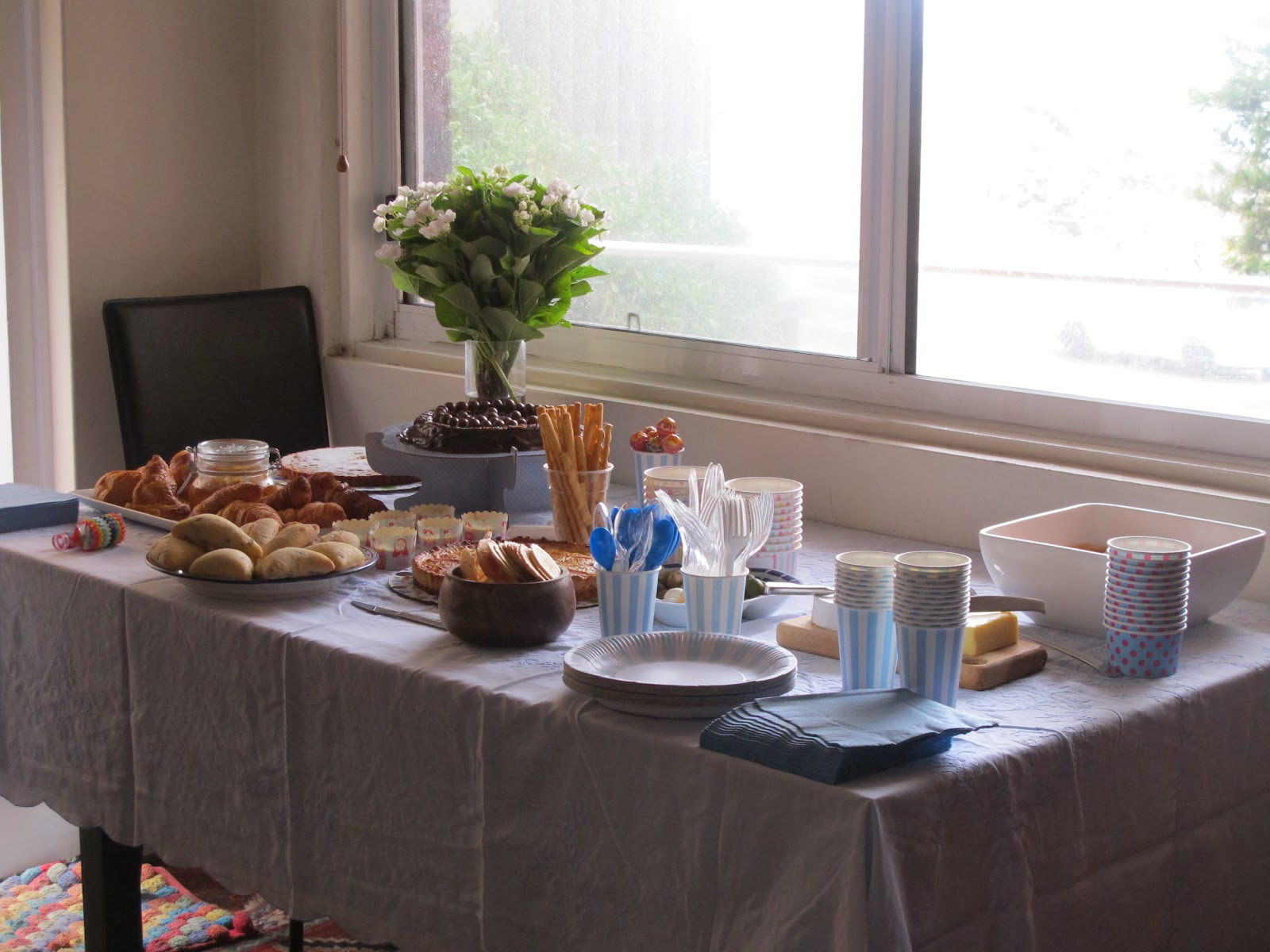 Table with food for the baptism celebration