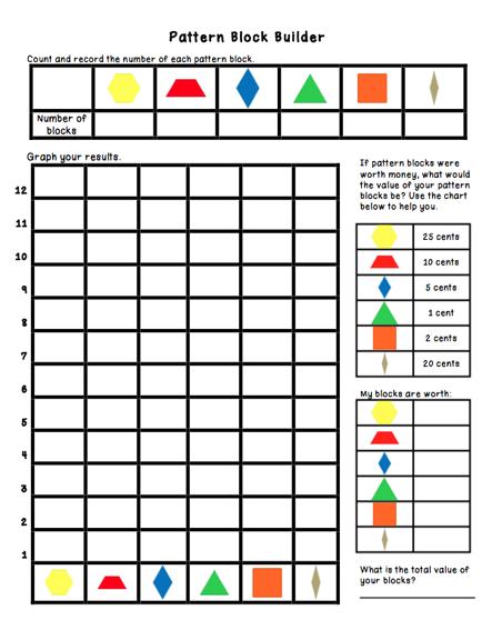 Printables Pattern Block Worksheets block fractions worksheet davezan pattern davezan