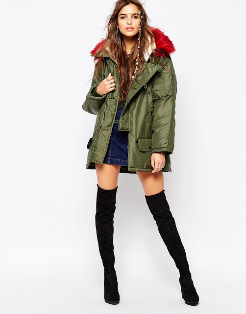 native rose parka coat, red collar khaki coat,