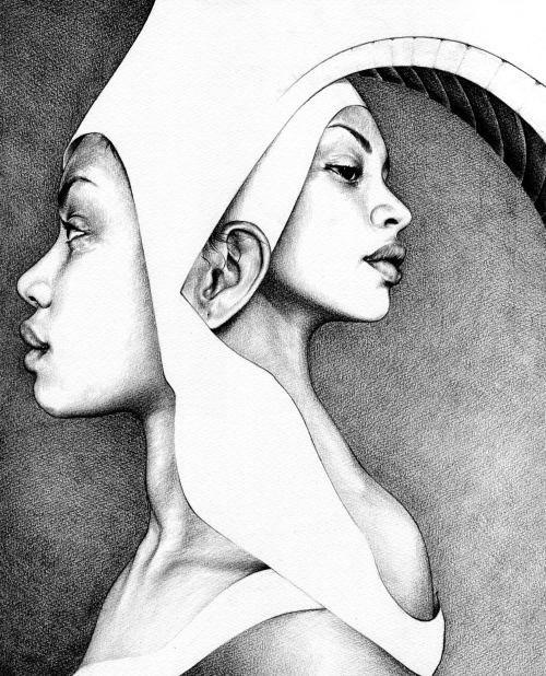 T.S. Abe desenhos a lápis hiper realistas retratos famosos Autorretratos