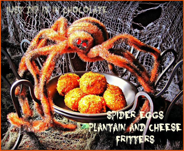 Spider Eggs Halloween Plantain & Cheese fritters from Just Dip It in Chocolate
