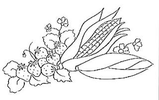 desenho de milho e morangos para pintar