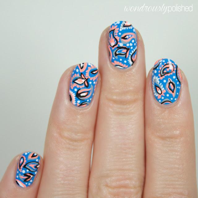 neon paisley nail art