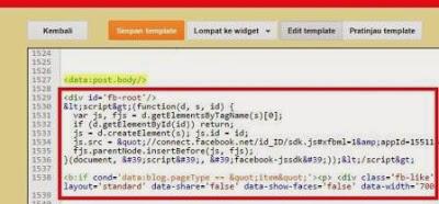 Gambar cara Memasang Kode Html5 Plugin sosial komentar Facebook di blog