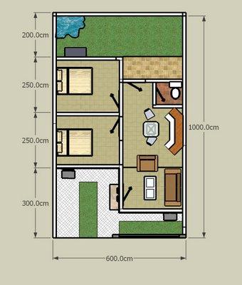 Itulah beberapa contoh gambar Denah Rumah Type 36 beserta ukurannya