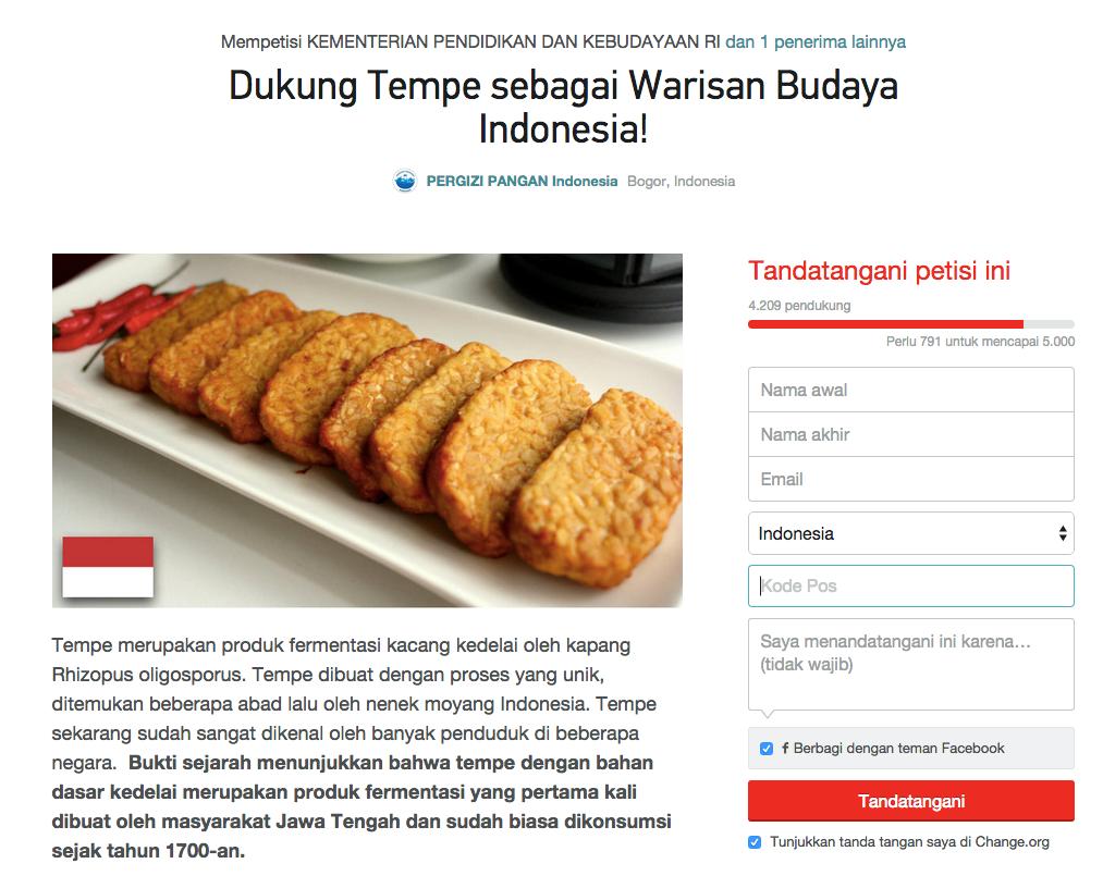 Petisi Dukung Tempe Sebagai Warisan Budaya Indonesia
