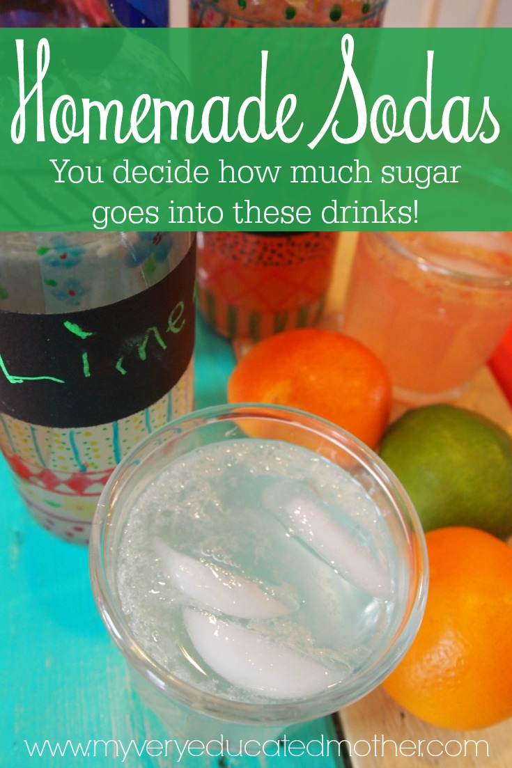 Create healthy options for our family and teach our kids how to make their own alternatives! These homemade sodas are just that, a great way to have a treat without too much sugar!