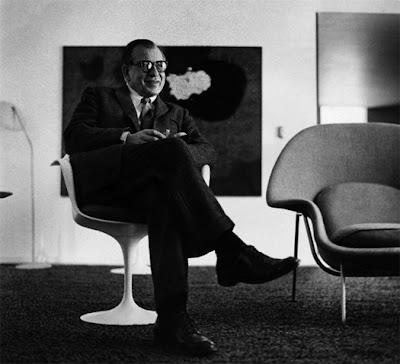 Eero Saarinen, c. 1958 in his Tulip Chair