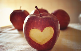 Heart Shape Eat Apple HD Wallpaper