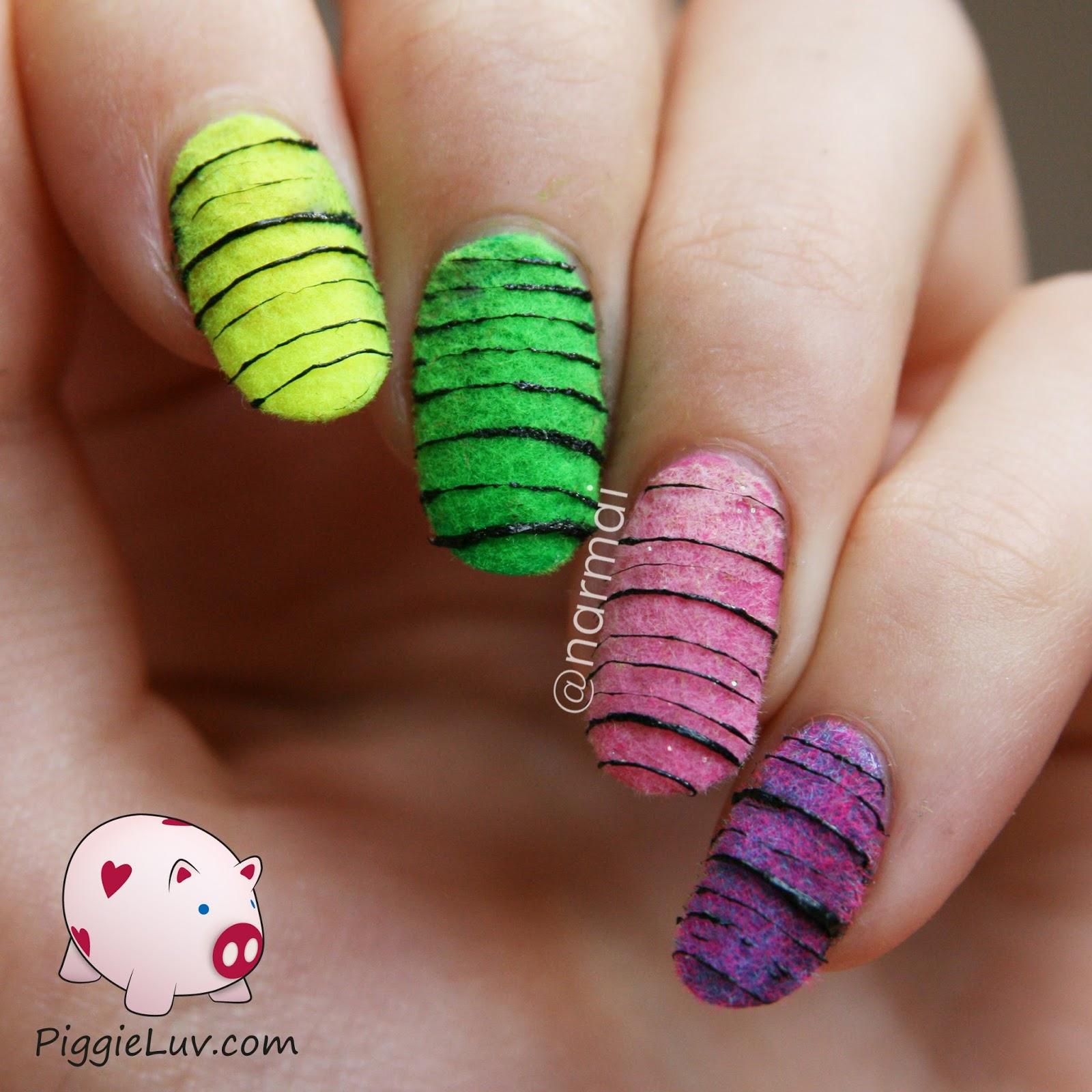 PiggieLuv: Sugar spun on top of flocking powder nail art