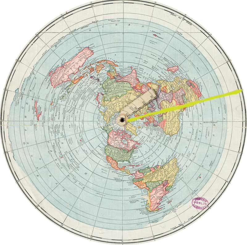 flat earth vs round earth azimuthal equidistant calculator