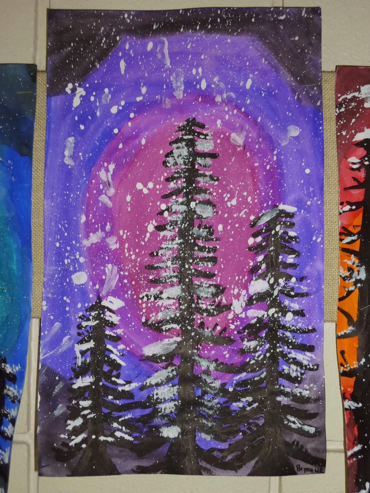 mrs  werner u0026 39 s art room  4th grade winter paintings