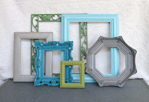 aqua teal greys and greens modern ornate frames set of 6 upcycled painted frames - Etsy Picture Frames