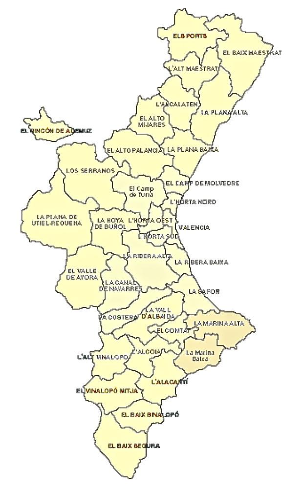 cominidad valenciana mapa: