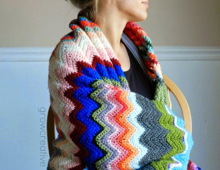 free crochet pattern yarn scarp chevron blanket