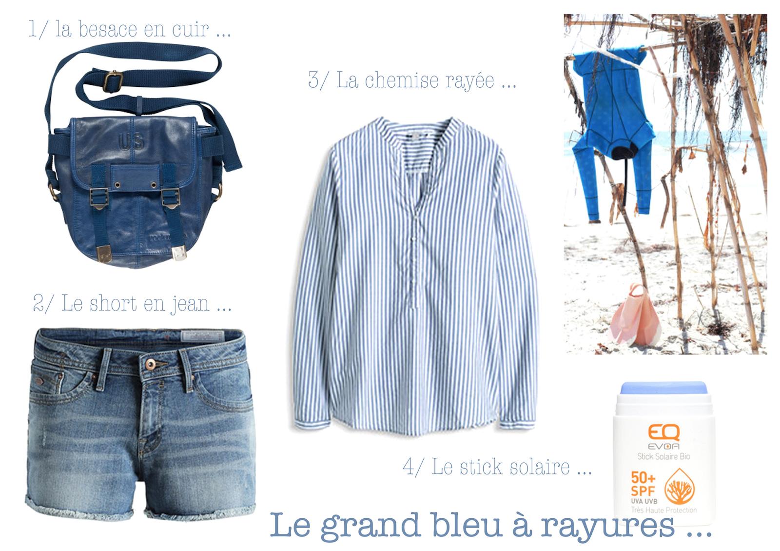 esprit,rayures,blanc,bleu,rockmafia,besace US,cuir,eqlove,short en jeans