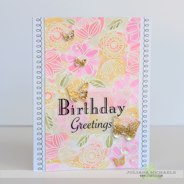 Birthday Greetings Card by Juliana Michaels featuring SRM Stickers, Jane's Doodles Stamps, Therm O Web Deco Foil and Ranger Distress Ink