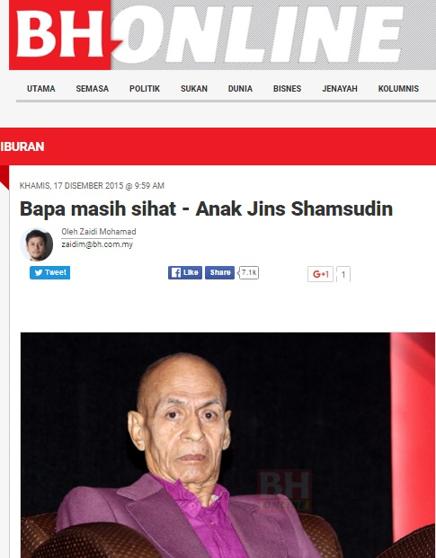 Tan Sri Jins Shamsudin masih sihat