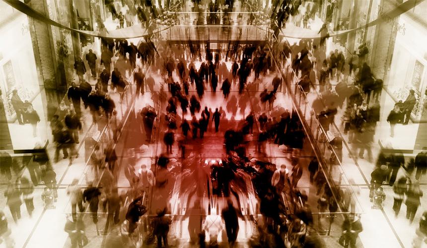 centro lleno de gente