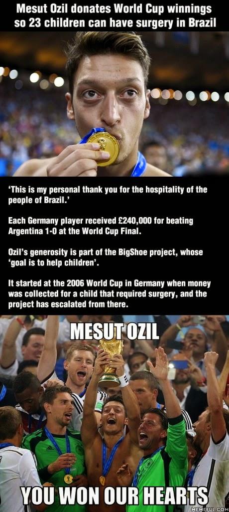 Love for children Ozil donates World Cup winnings