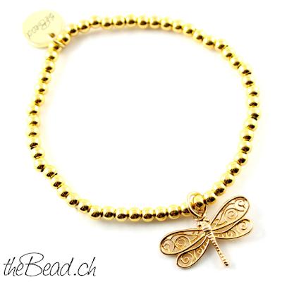 Vergoldete 925 Sterling Silber Perlenschmuck Armbänder mit Libelle von theBead Schweiz