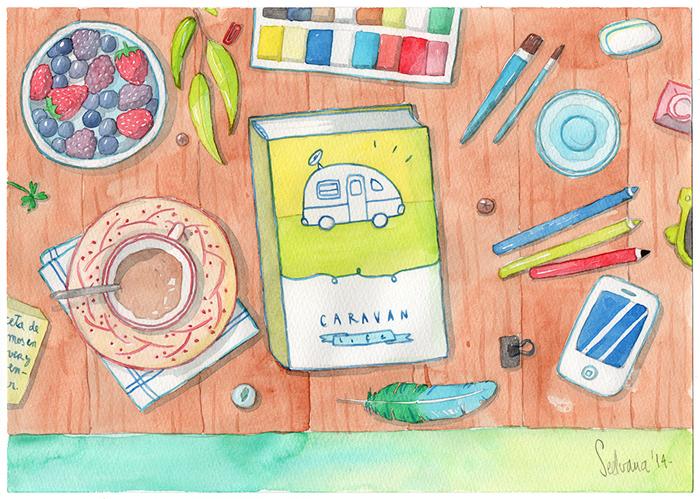 watercolour illustration caravan acuarela dibujo ilustración