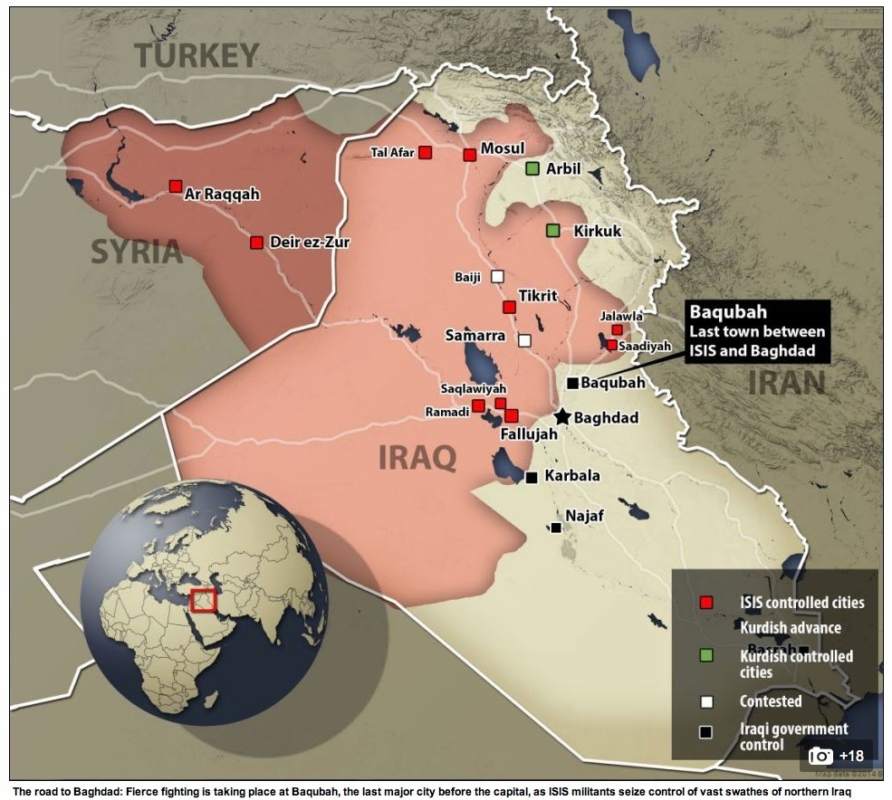 Map showing extent of Iraqi territory overrun by ISIS fighters mid-June 2014