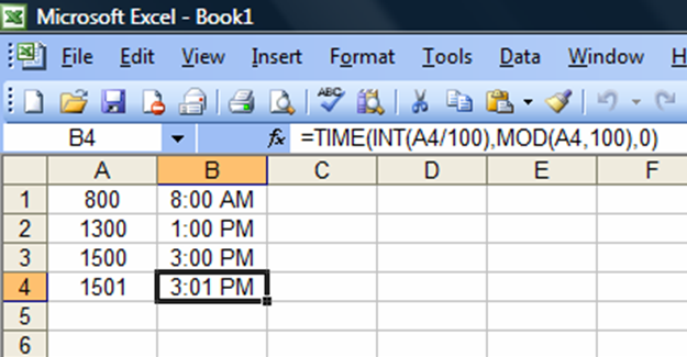 how to convert military time in excel