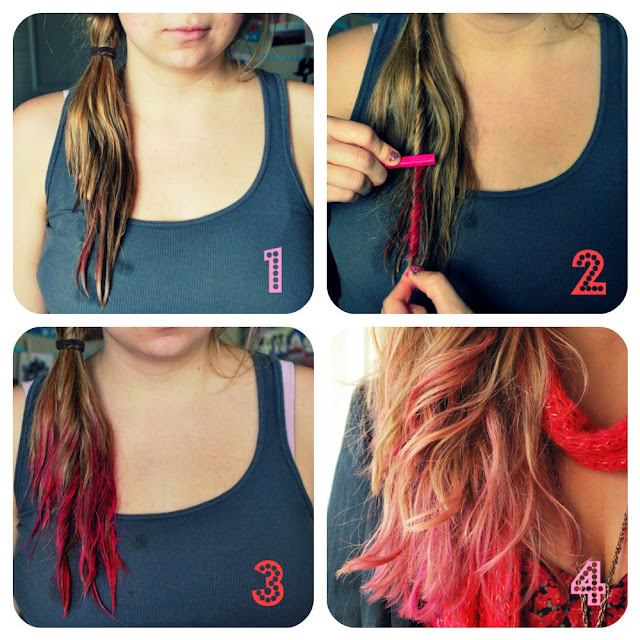 Howto give yourself a Temporary Hot Pink Tips Hair Tutorial
