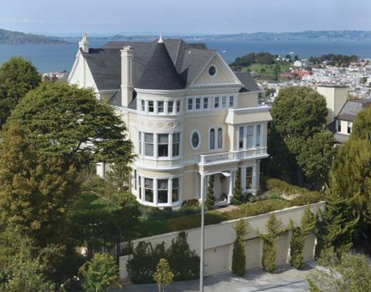 exterior of white pacific heights mansion with queen anne architecture