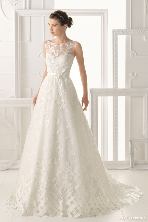 aire barcelona vintage 2014 bridal collection lace wedding dresses