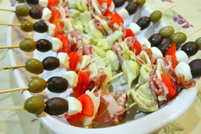 antipasto skewers, Brenda Ajay, appetizers, finger food, quick and easy recipes, healthy party food, italian party food, clean eating