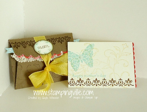 Handmade die-cut scallop envelope and matching mini card