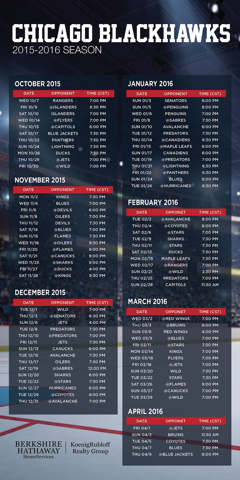 band notes: chicago blackhawks 2015-2016 schedule ecard & postcard