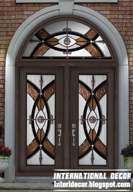 American Wooden Door With Stained Glass Design And Round Top