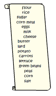 parchment showing a list of items: flour, rice, sugar, corn meal, eggs, milk, cheese, butter, lard, potato, carrots, lettuce, green beans, peas, corn, salt