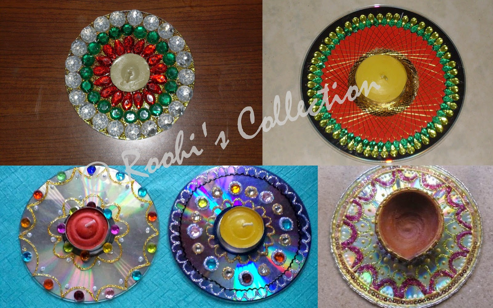 Roohi 39 s collections 10 ways of making diyas and rangoli for Decoration from waste things