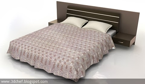 Modern bed 3ds max model3d chef 39 sfree 3d model for 3ds max bed model